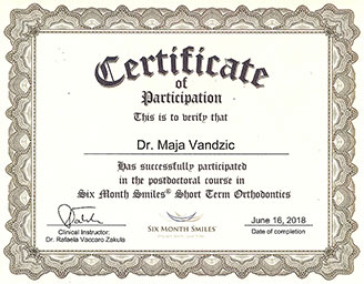 dr. Maja Vandzic - Certificate of participation